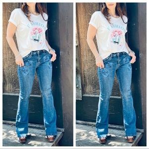 Best fitting embroidered bell flare jeans